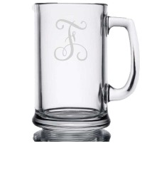 Vine Monogram Etched Glasses