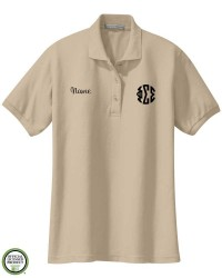 Phi Sigma Sigma Circle Monogram Embroidered Short Sleeve Polo