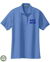 Phi Sigma Sigma Mom Embroidered Short Sleeve Polo